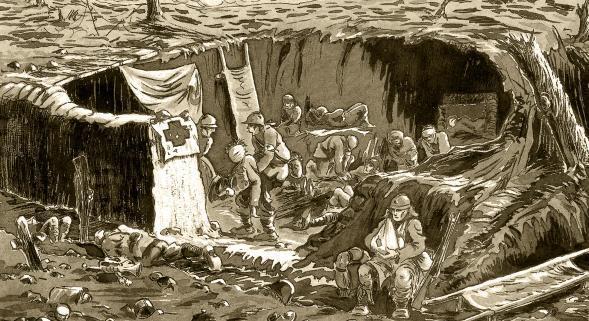 Lucien Laby dessine l'un des postes de secours où il a porté les premiers soins aux blessés du front