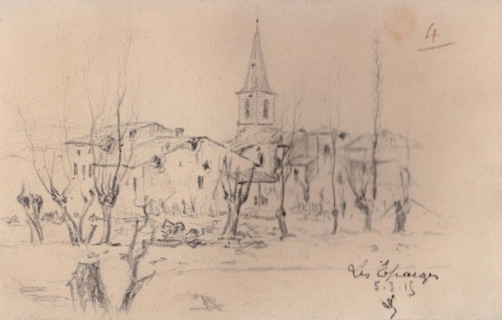 Les Eparges le 5 mars 1915. Dessin Louis Delozanne