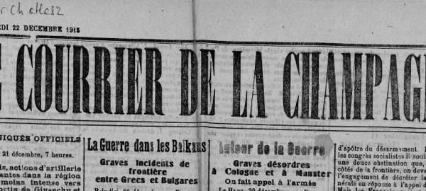 Le Courrier du 22 décembre 1915